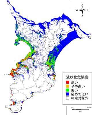 大正型関東地震の際の液状化予測図(出典:平成26・27年度千葉県地震被害想定調査報告書)