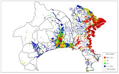 大正型関東地震の液状化想定図(出典:神奈川県防災情報「被害が大きくなりそうな地域とは」)