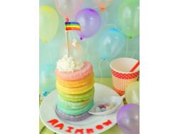 レインボーパンケーキの作り方 虹色パステルカラー!