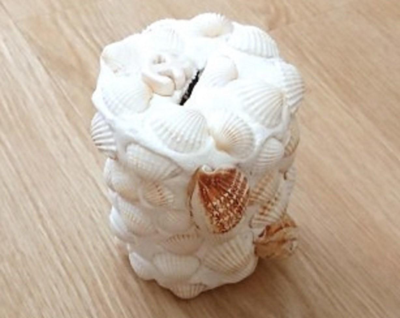 紙粘土と貝殻で貯金箱を作ろう