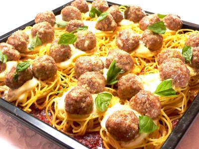 ミートボールスパゲッティのぎゅうぎゅう焼き